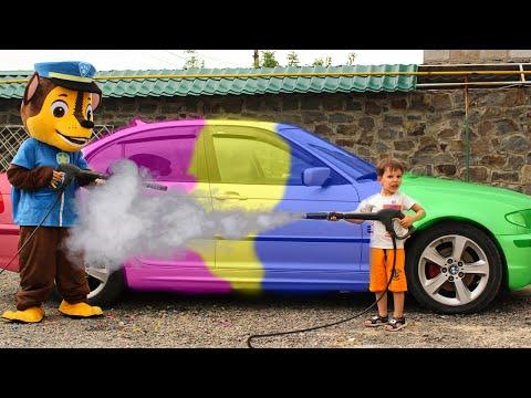 TEMA washing car with Paw Patrol Щенячий патруль Видео для детей