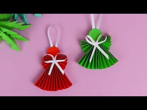 АНГЕЛОЧКИ из бумаги - DIY / Как сделать оригами Ангела на Рождество и Новый год
