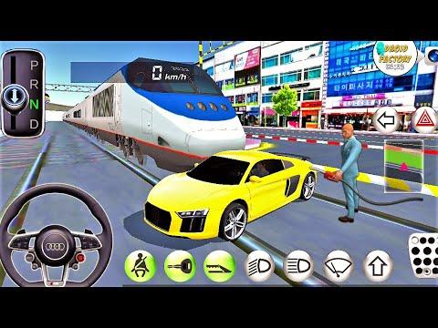 AUDI Car VS Bullet TRAIN- Driver's License Examination Sim- Best Android Gameplay HD