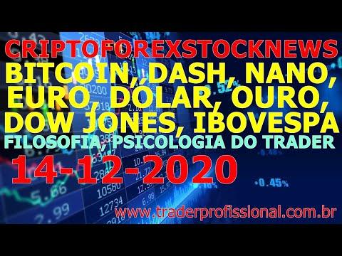 Sinais análise bitcoin, nano, ibovespa, dólar, dow jones, eurusd, ouro, psicologia do trader 14DEZ20