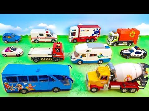 Полицейская машина Скорая помощь Бетономешалка Мусоровоз игрушечные мультики unboxing cars for kids.
