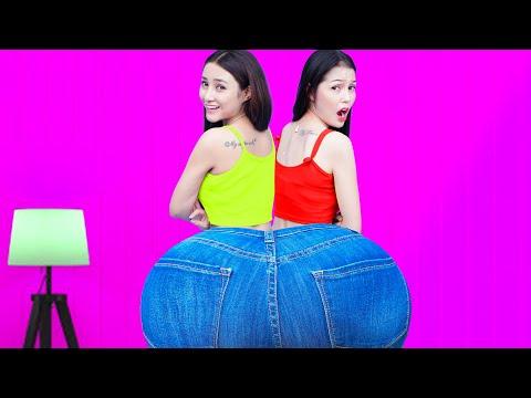 Two Person Trousers Challenge! 2 Girls Stuck In The Same Pants! 24 Hours In 1 Trouser & Prank Wars | 15:11:47 | людской пахидермия